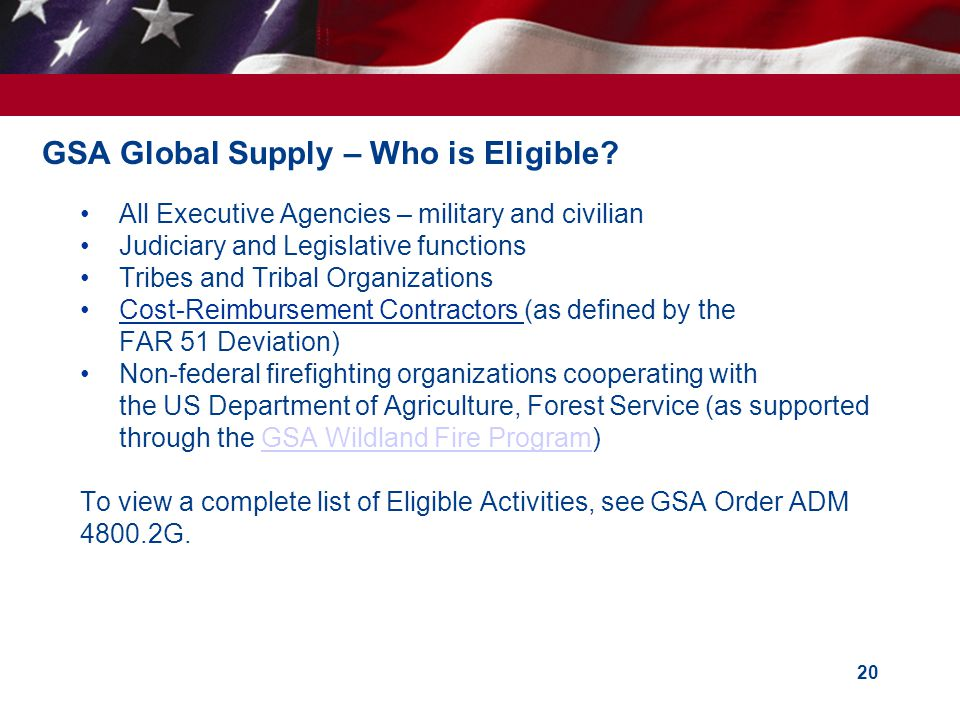 GSA Global Supply – Who is Eligible