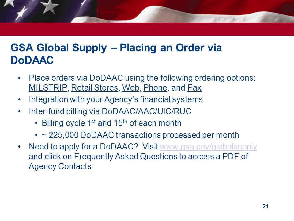 GSA Global Supply – Placing an Order via DoDAAC
