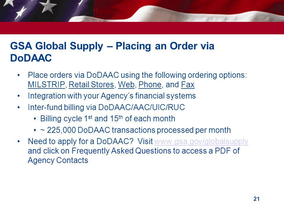 GSA Global Supply – Placing an Order via DoDAAC