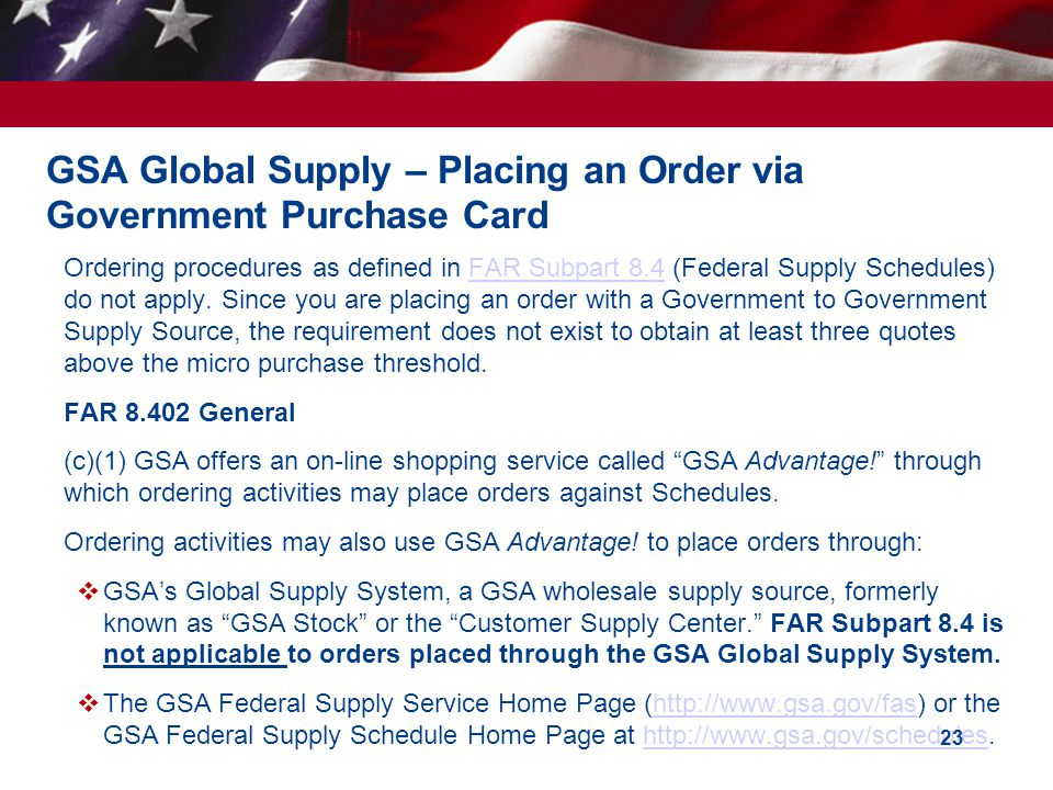 GSA Global Supply – Placing an Order via Government Purchase Card