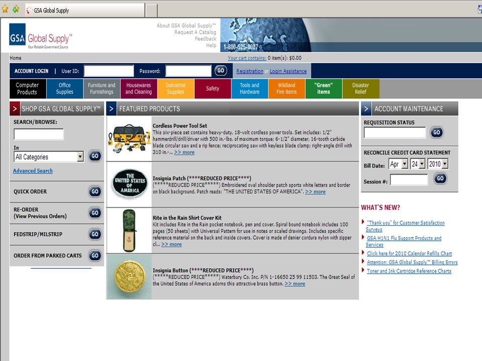 This is a screen shot of the GSA Global Supply home page