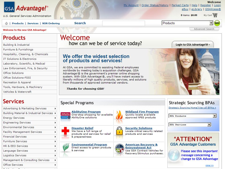 This is a screen shot of the GSAAdvantage. home page