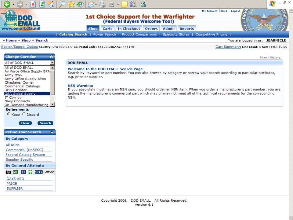 This is a screenshot of the DOD EMall homepage