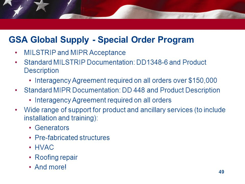 GSA Global Supply - Special Order Program