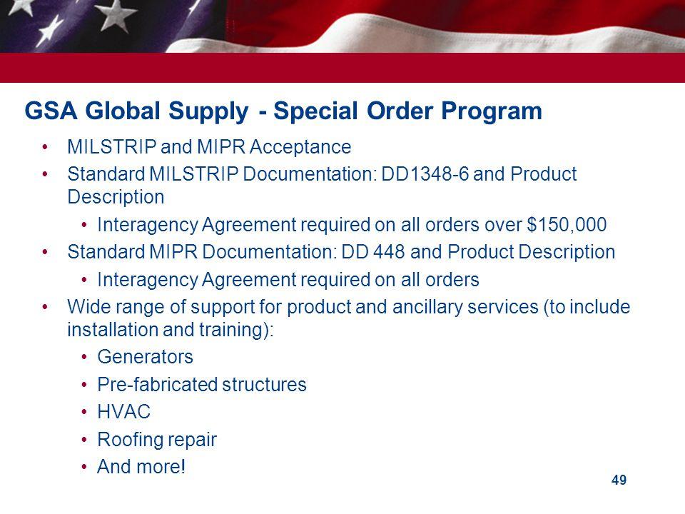 GSA Global Supply - Special Order Program