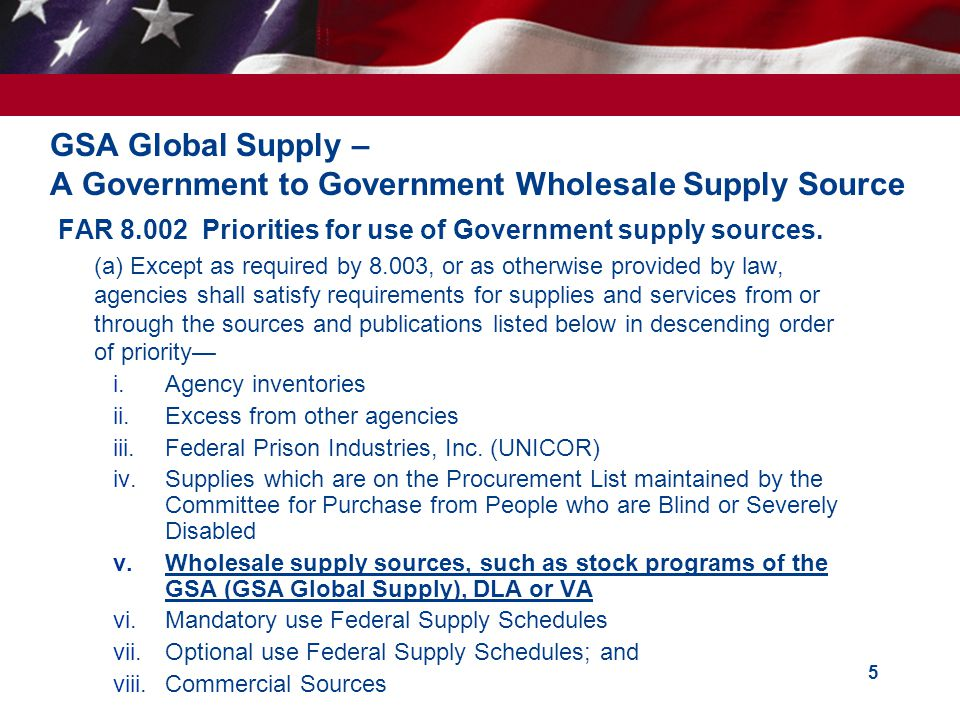GSA Global Supply – A Government to Government Wholesale Supply Source
