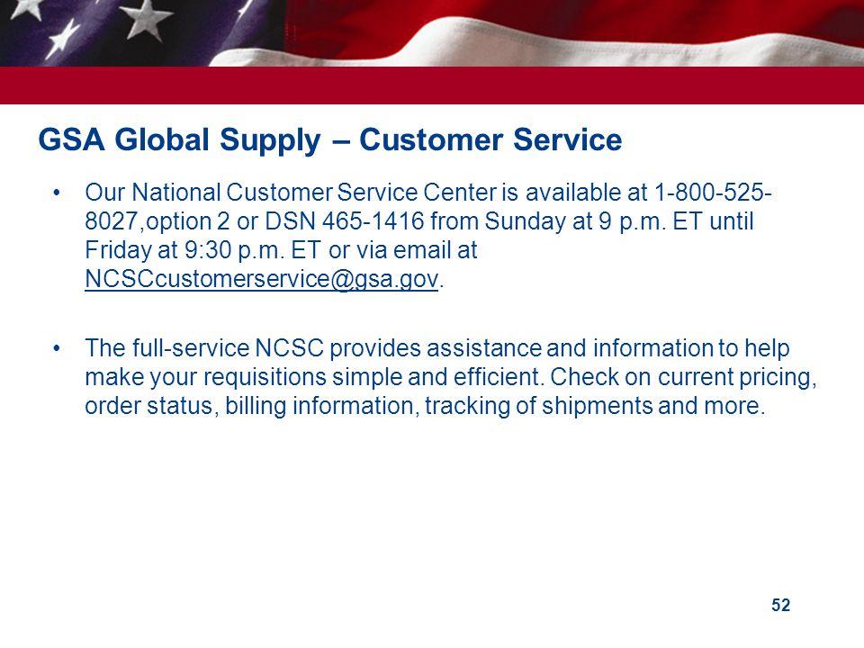GSA Global Supply – Customer Service