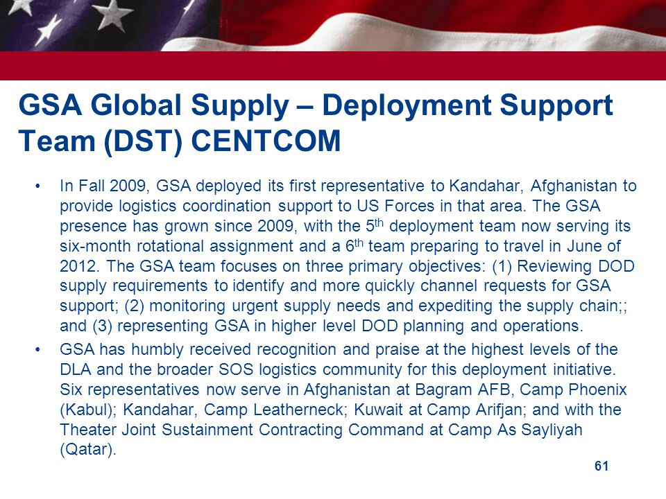 GSA Global Supply – Deployment Support Team (DST) CENTCOM
