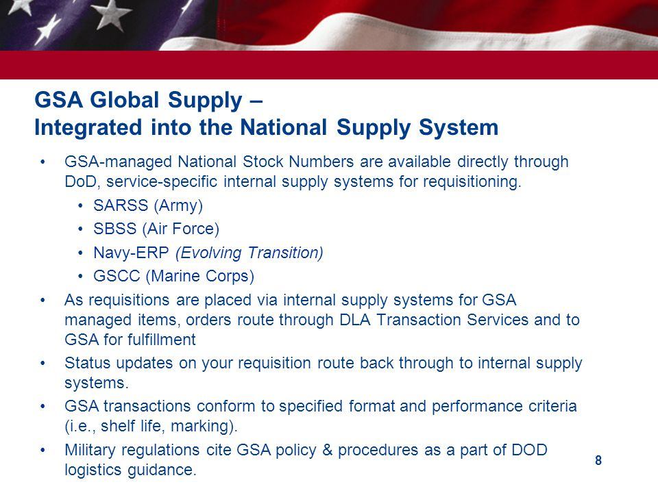GSA Global Supply – Integrated into the National Supply System