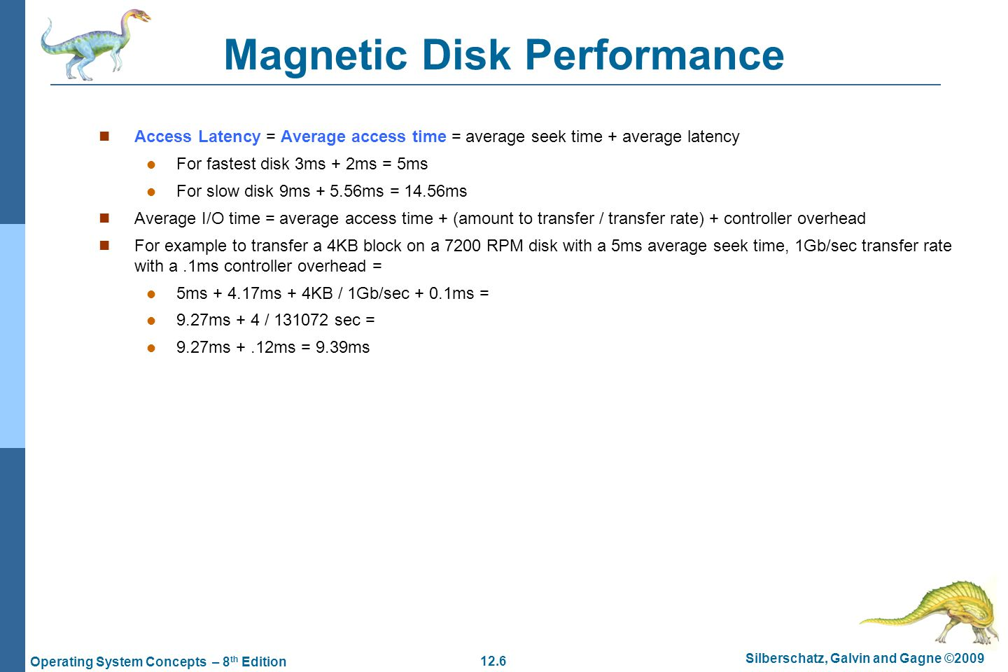 Magnetic Disk Performance
