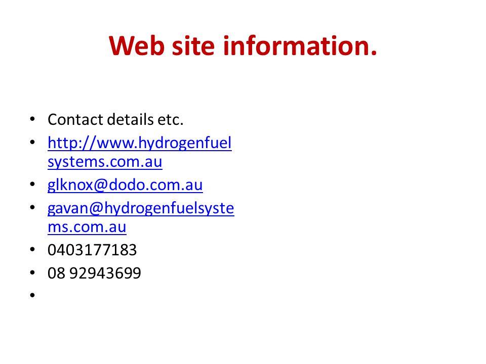 Web site information. Contact details etc.