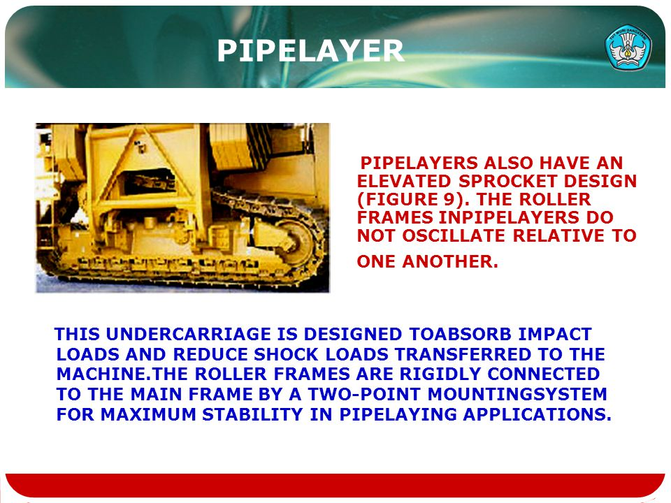 PIPELAYER PIPELAYERS ALSO HAVE AN ELEVATED SPROCKET DESIGN (FIGURE 9). THE ROLLER FRAMES INPIPELAYERS DO NOT OSCILLATE RELATIVE TO ONE ANOTHER.