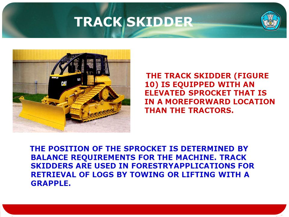 TRACK SKIDDER THE TRACK SKIDDER (FIGURE 10) IS EQUIPPED WITH AN ELEVATED SPROCKET THAT IS IN A MOREFORWARD LOCATION THAN THE TRACTORS.
