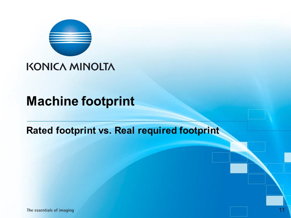 Machine footprint Rated footprint vs. Real required footprint
