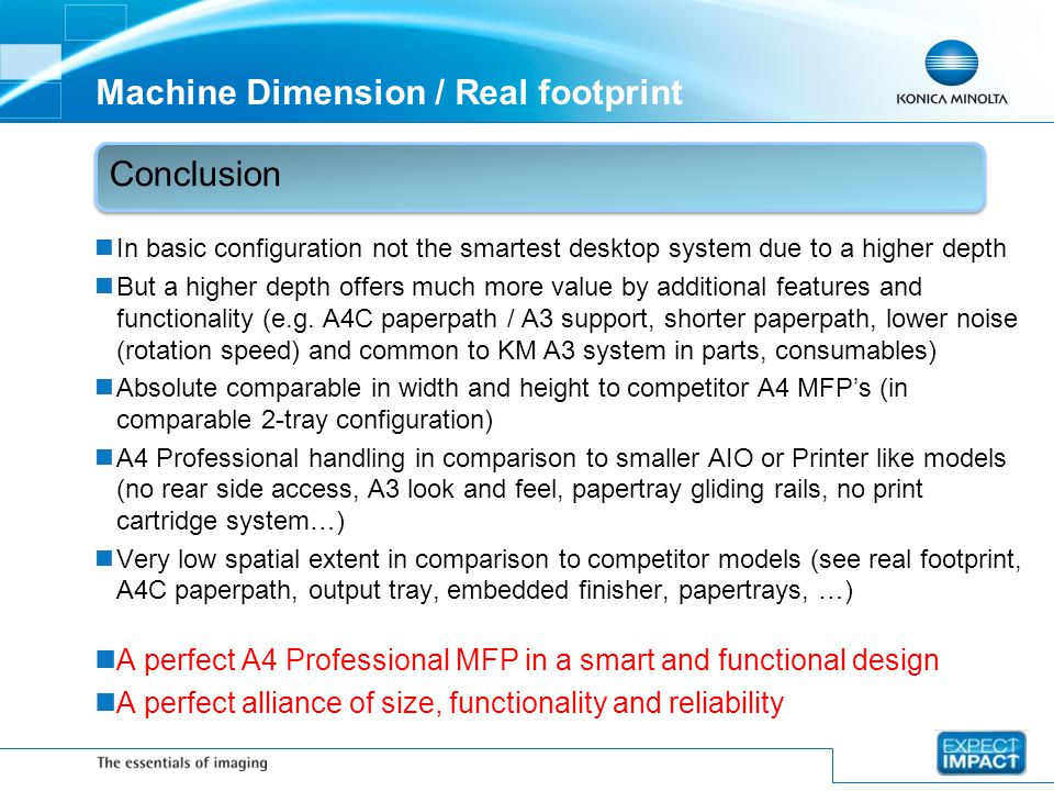 Machine Dimension / Real footprint