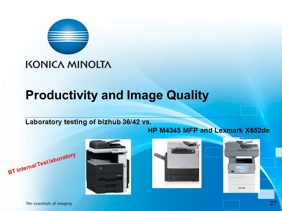 Productivity and Image Quality Laboratory testing of bizhub 36/42 vs
