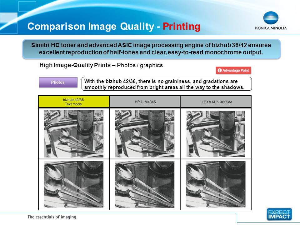 Comparison Image Quality - Printing