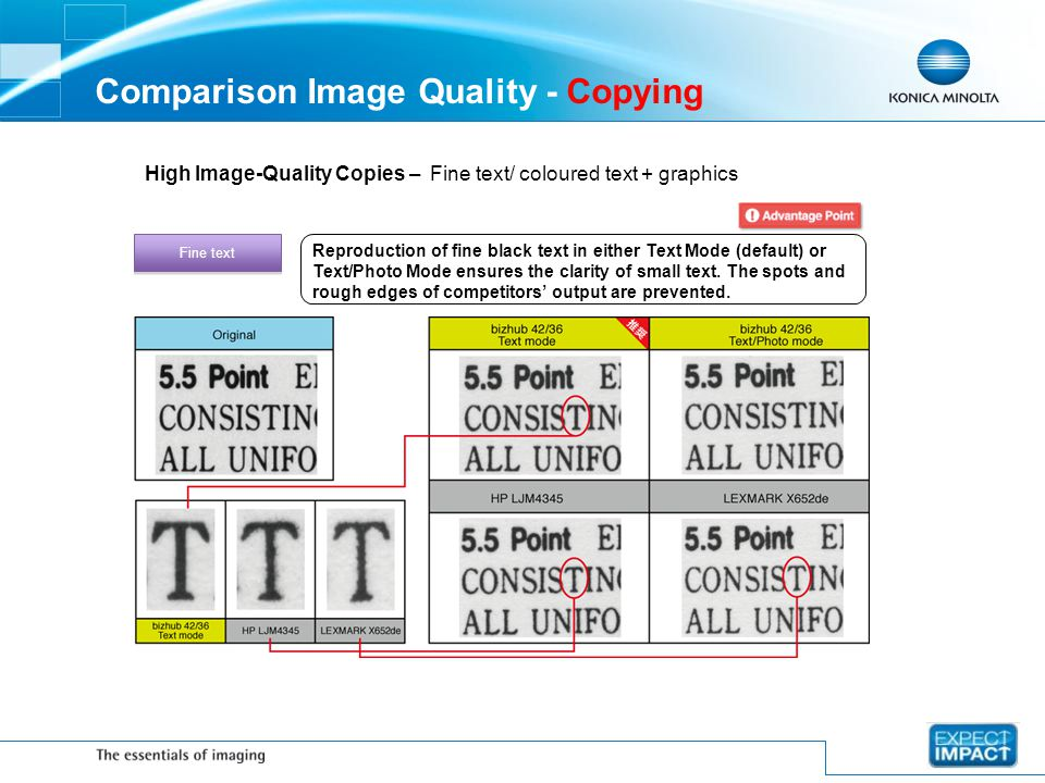 Comparison Image Quality - Copying