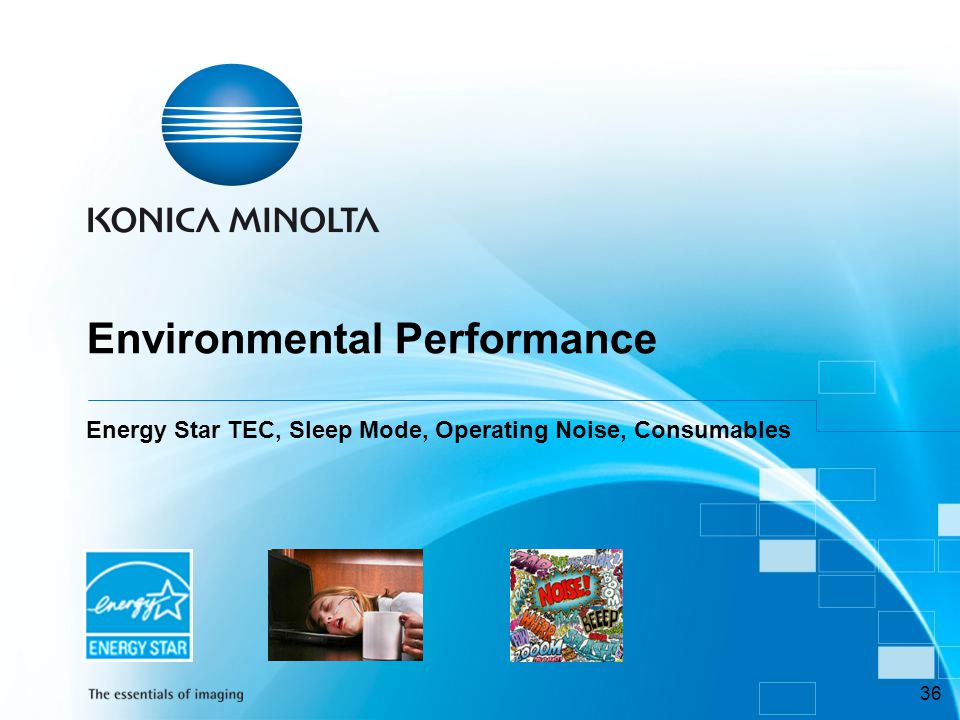 Environmental Performance Energy Star TEC, Sleep Mode, Operating Noise, Consumables