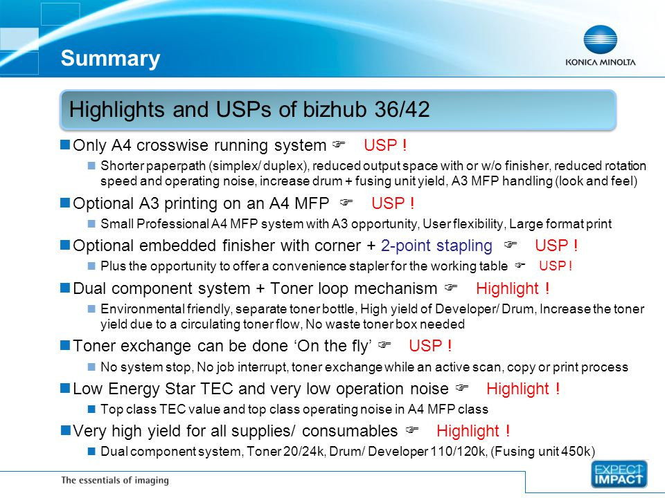 Highlights and USPs of bizhub 36/42