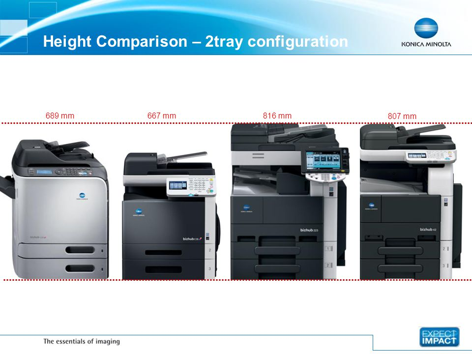 Height Comparison – 2tray configuration
