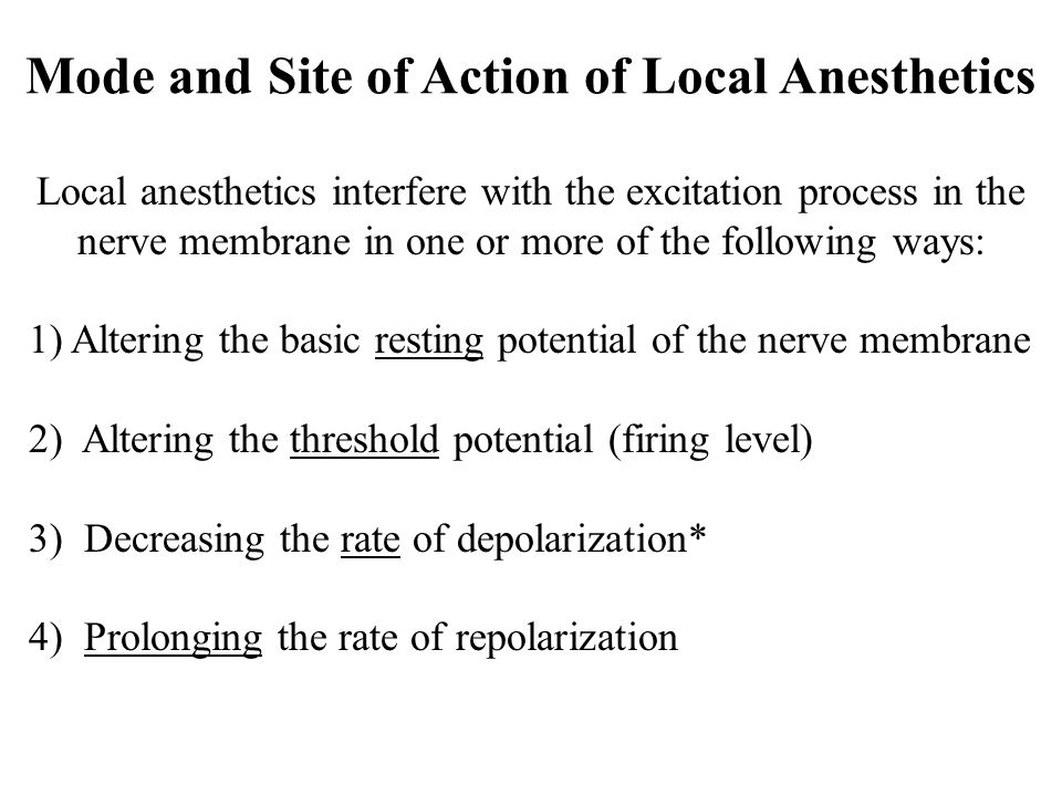 Mode and Site of Action of Local Anesthetics