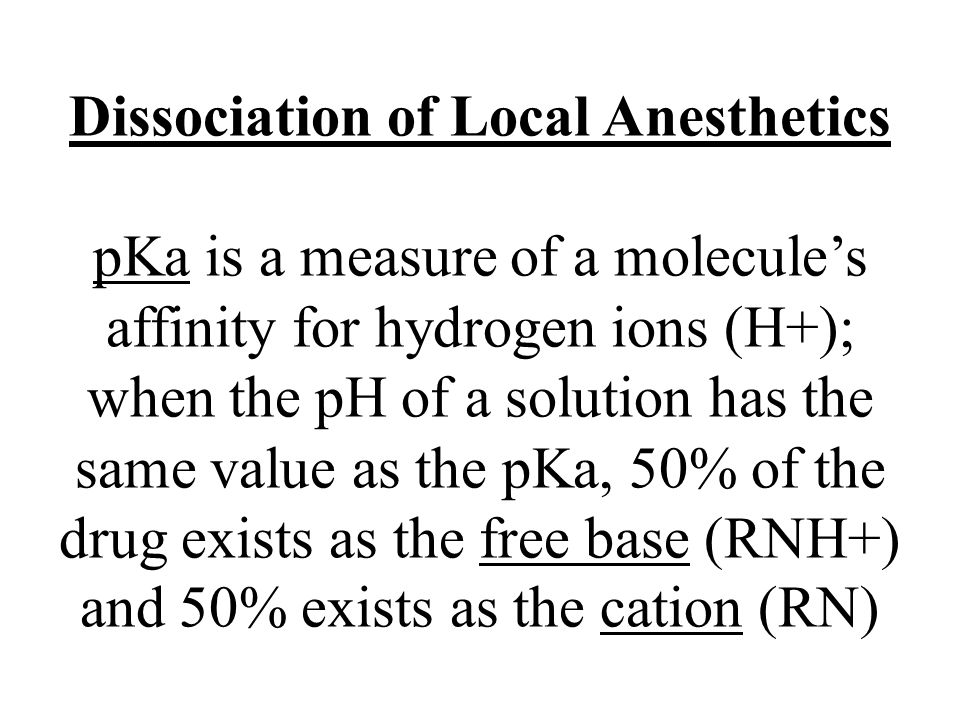 Dissociation of Local Anesthetics pKa is a measure of a molecule's affinity for hydrogen ions (H+); when the pH of a solution has the same value as the pKa, 50% of the drug exists as the free base (RNH+) and 50% exists as the cation (RN)