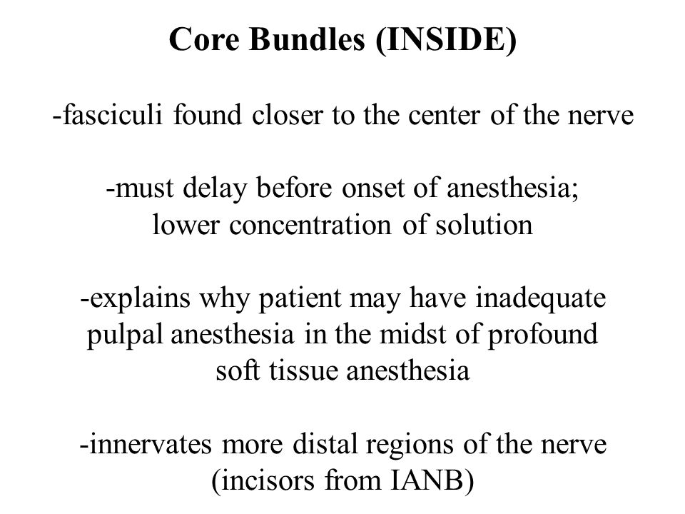 Core Bundles (INSIDE) -fasciculi found closer to the center of the nerve -must delay before onset of anesthesia; lower concentration of solution -explains why patient may have inadequate pulpal anesthesia in the midst of profound soft tissue anesthesia -innervates more distal regions of the nerve (incisors from IANB)