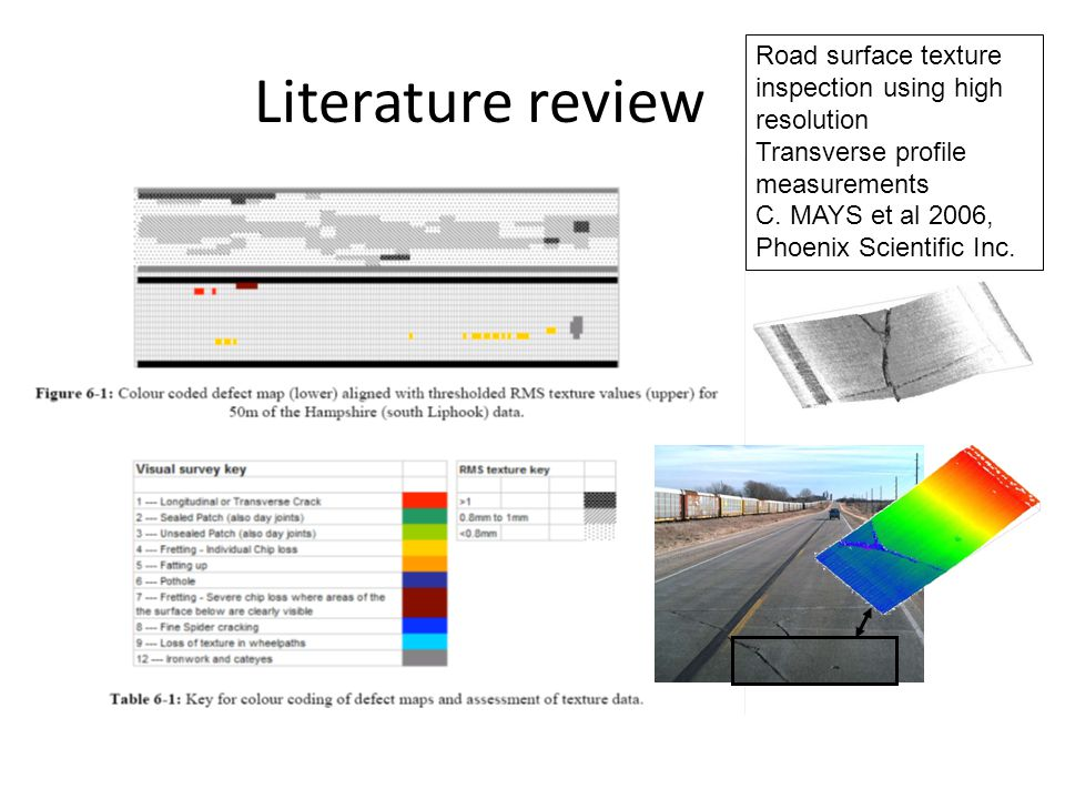 Literature review Road surface texture inspection using high resolution. Transverse profile measurements.