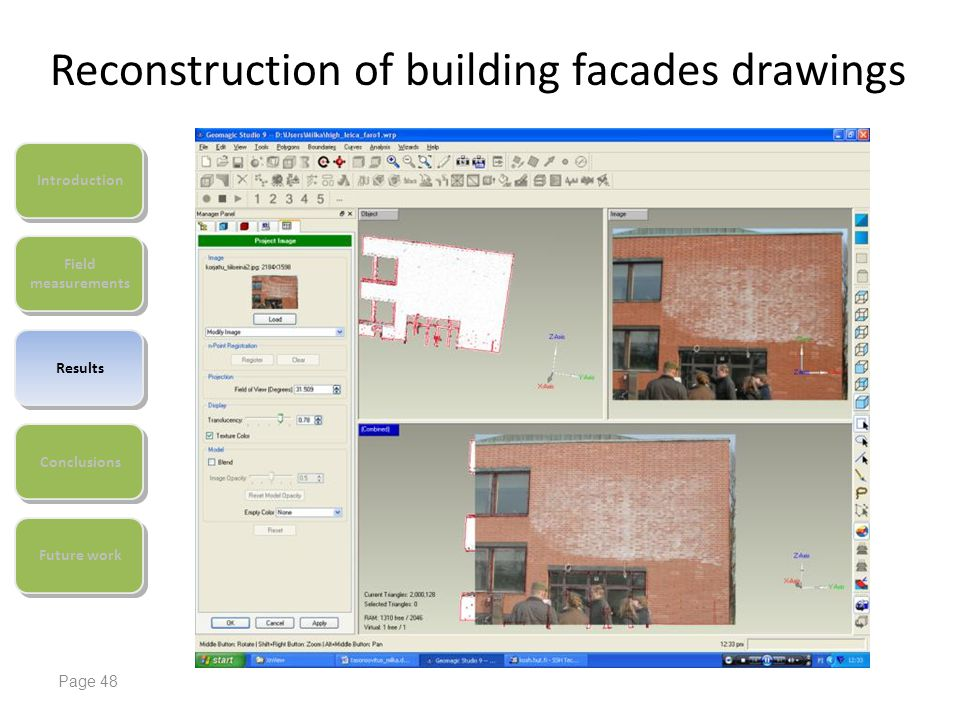 Reconstruction of building facades drawings