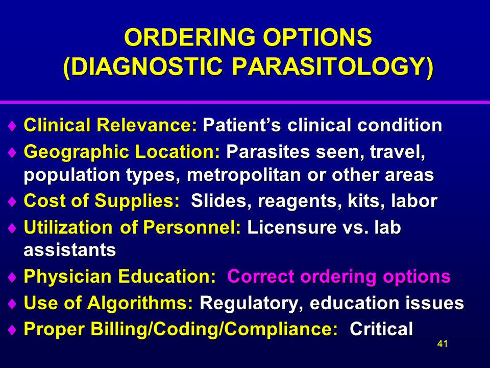 ORDERING OPTIONS (DIAGNOSTIC PARASITOLOGY)