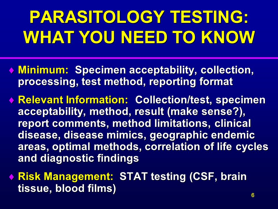 PARASITOLOGY TESTING: WHAT YOU NEED TO KNOW