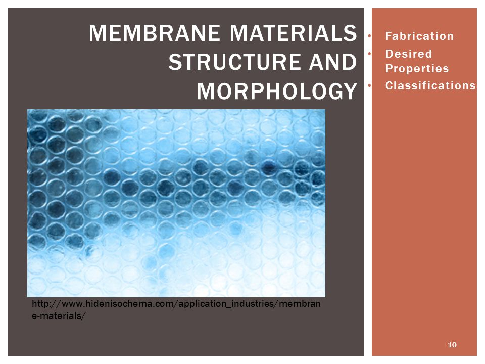Membrane Materials Structure and Morphology