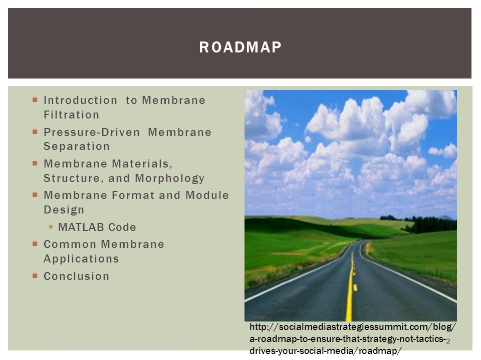 Roadmap Introduction to Membrane Filtration