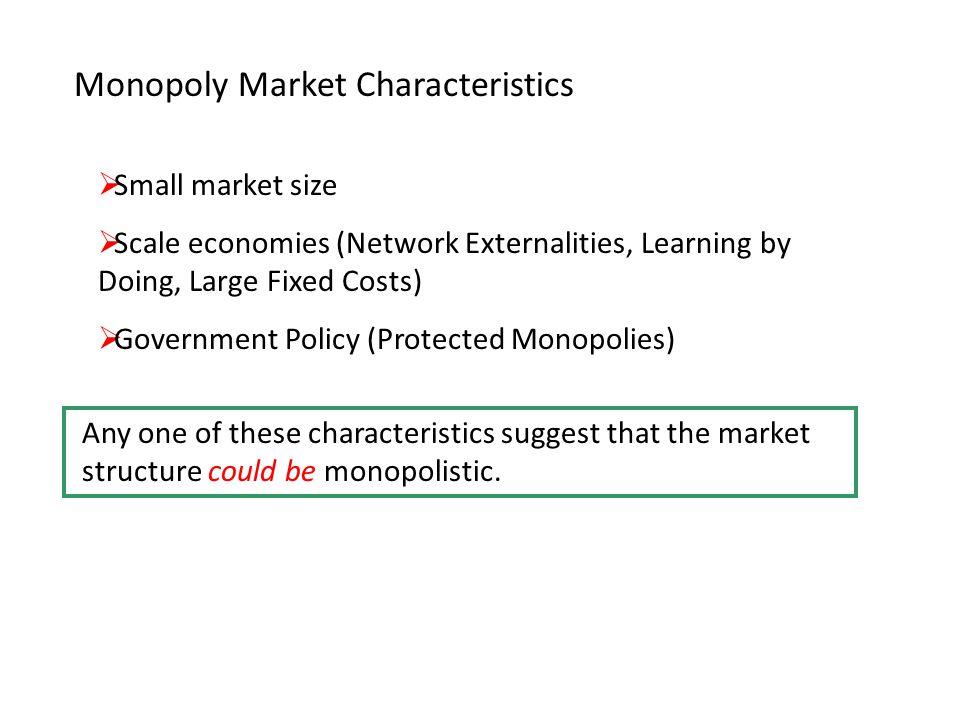 Monopoly Market Characteristics