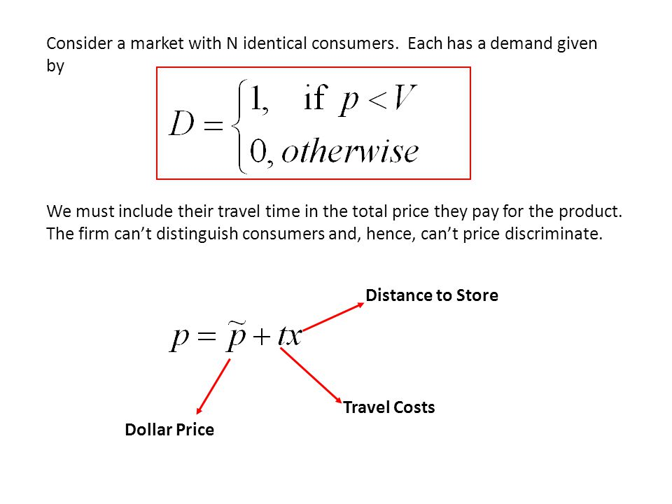 Consider a market with N identical consumers