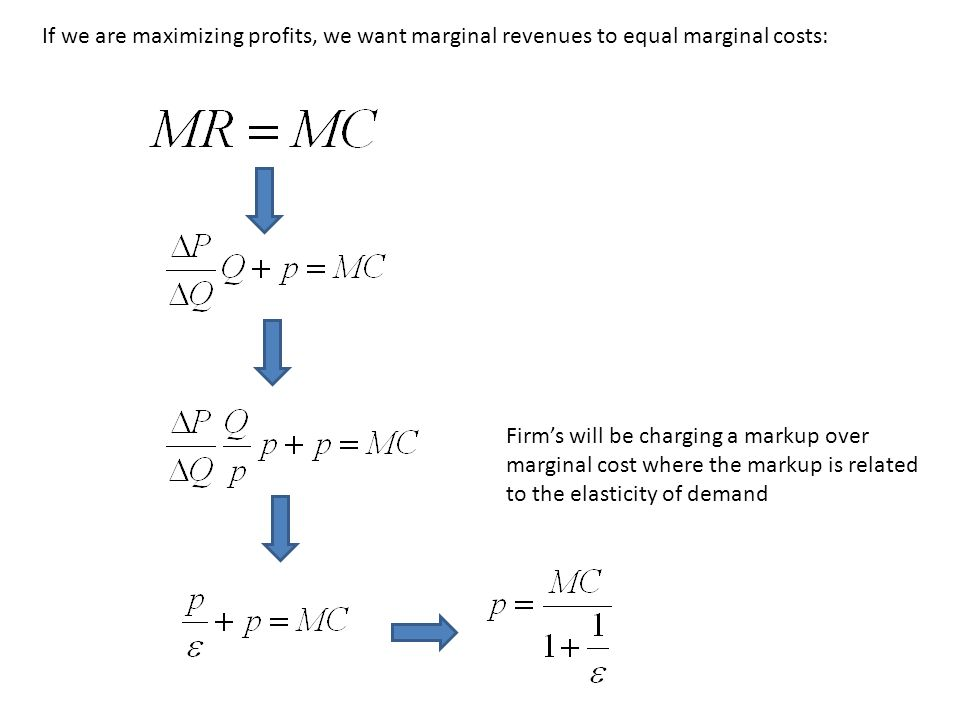 If we are maximizing profits, we want marginal revenues to equal marginal costs: