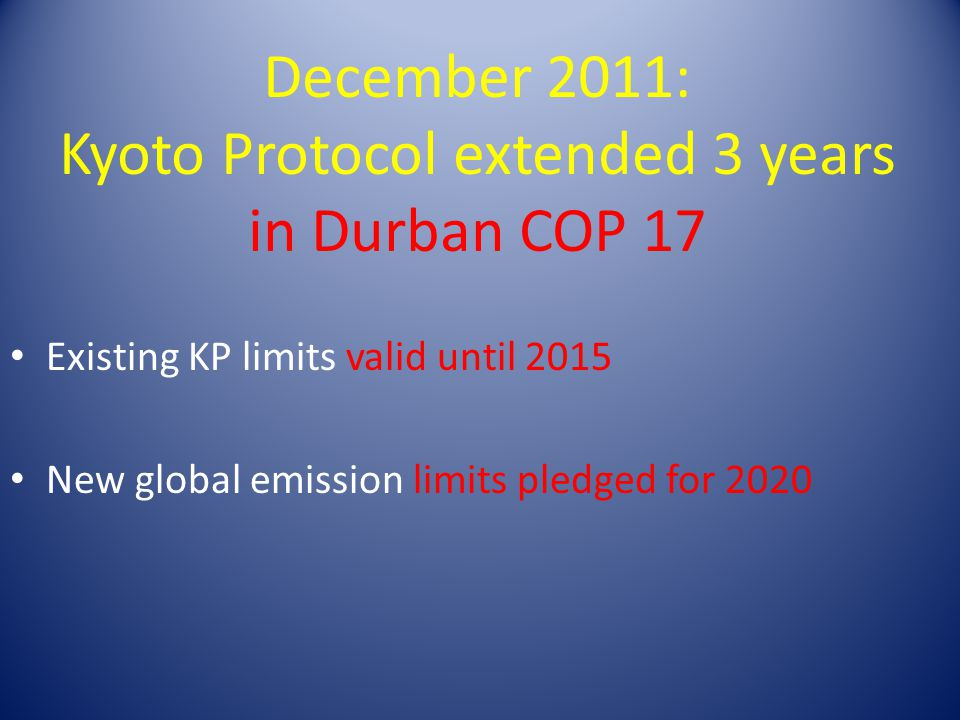 December 2011: Kyoto Protocol extended 3 years in Durban COP 17