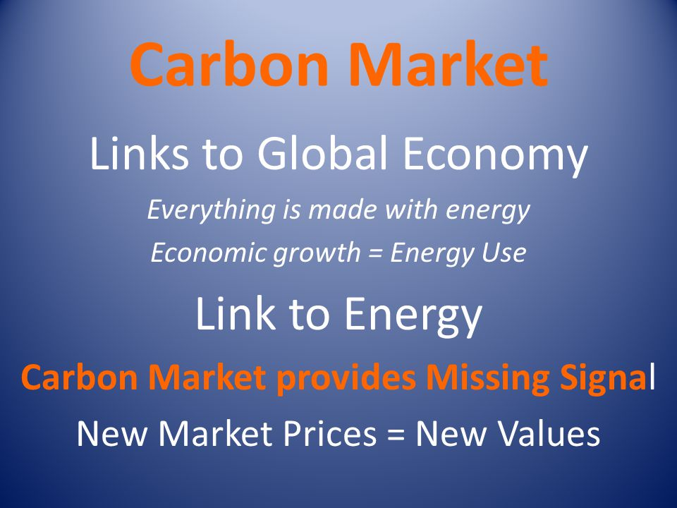 Carbon Market Links to Global Economy Link to Energy