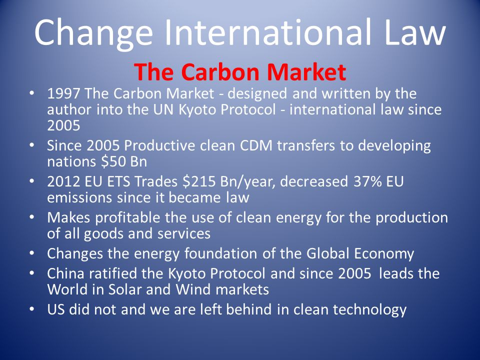 Change International Law The Carbon Market