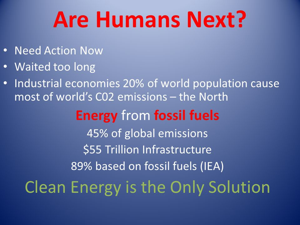 Are Humans Next Clean Energy is the Only Solution