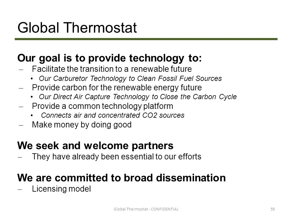 Global Thermostat - CONFIDENTIAL