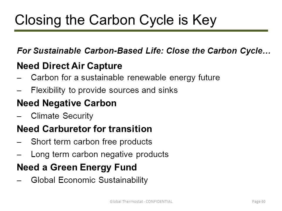 For Sustainable Carbon-Based Life: Close the Carbon Cycle…