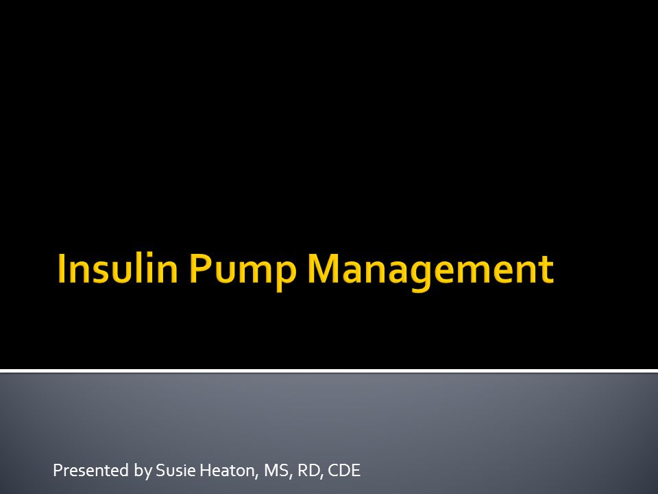 Insulin Pump Management