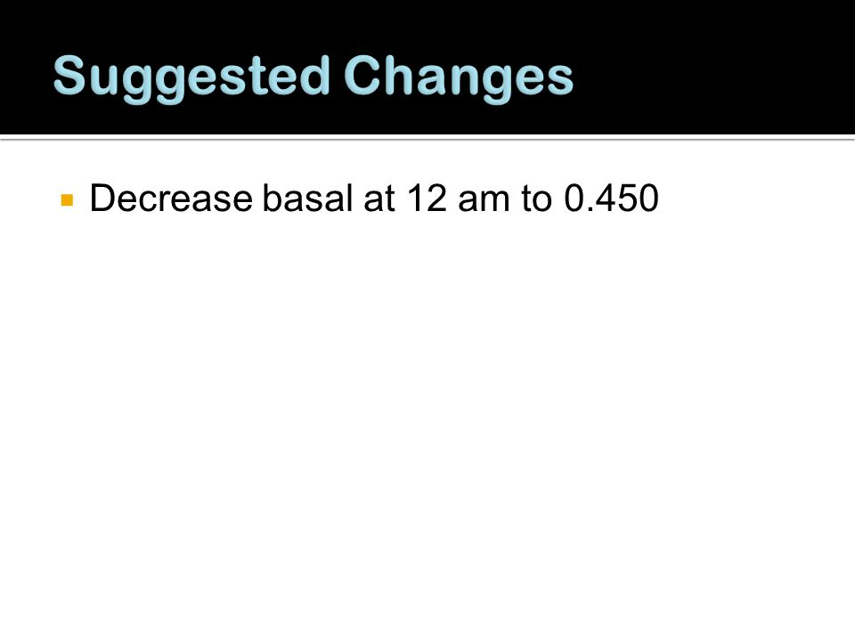 Suggested Changes Decrease basal at 12 am to 0.450