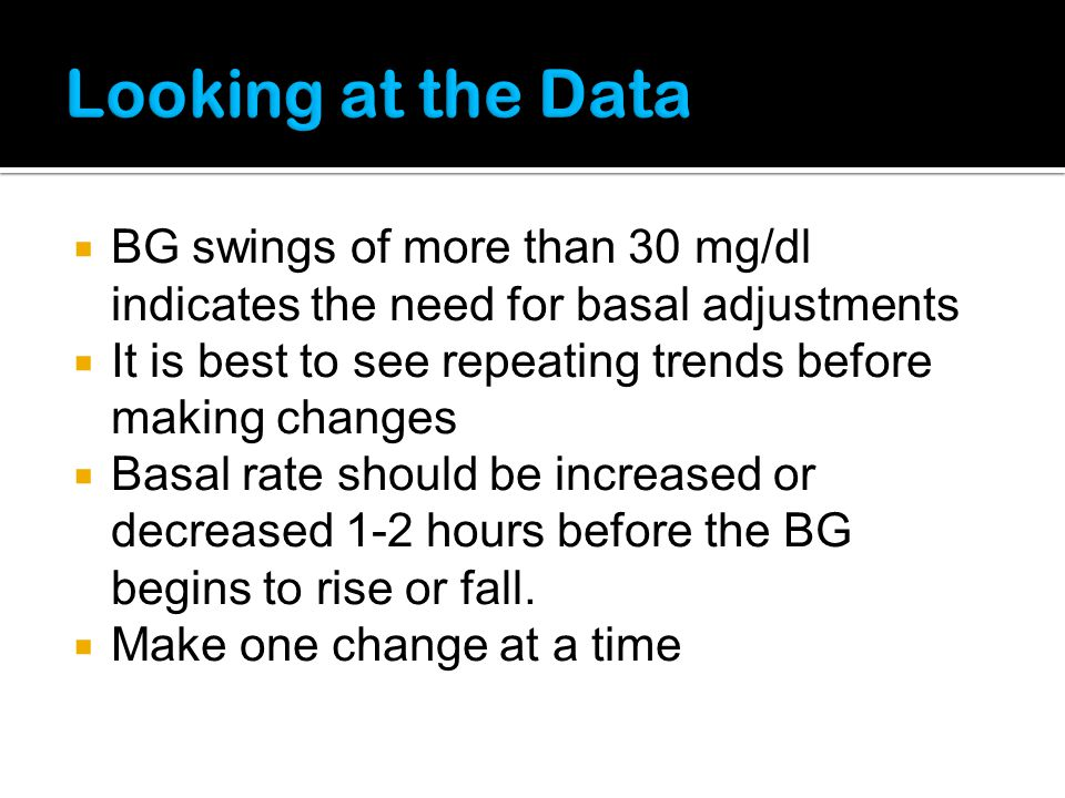 Looking at the Data BG swings of more than 30 mg/dl indicates the need for basal adjustments.