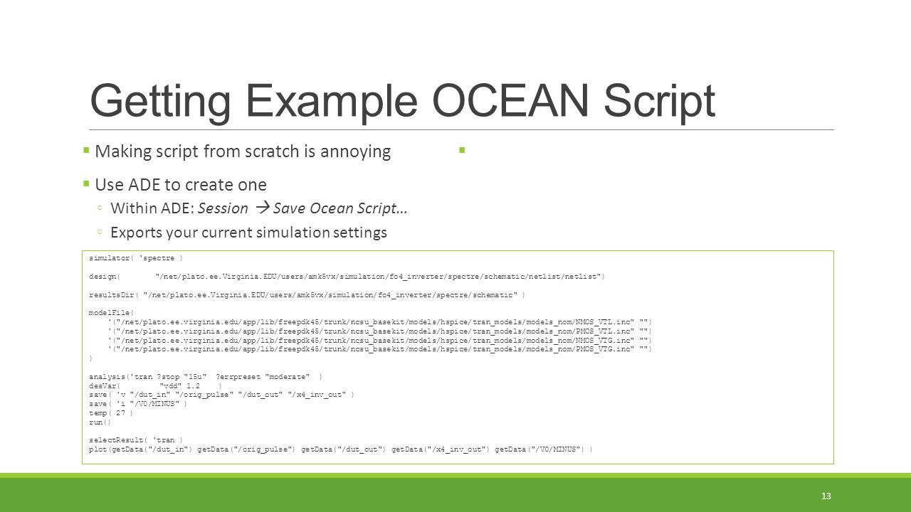 Getting Example OCEAN Script