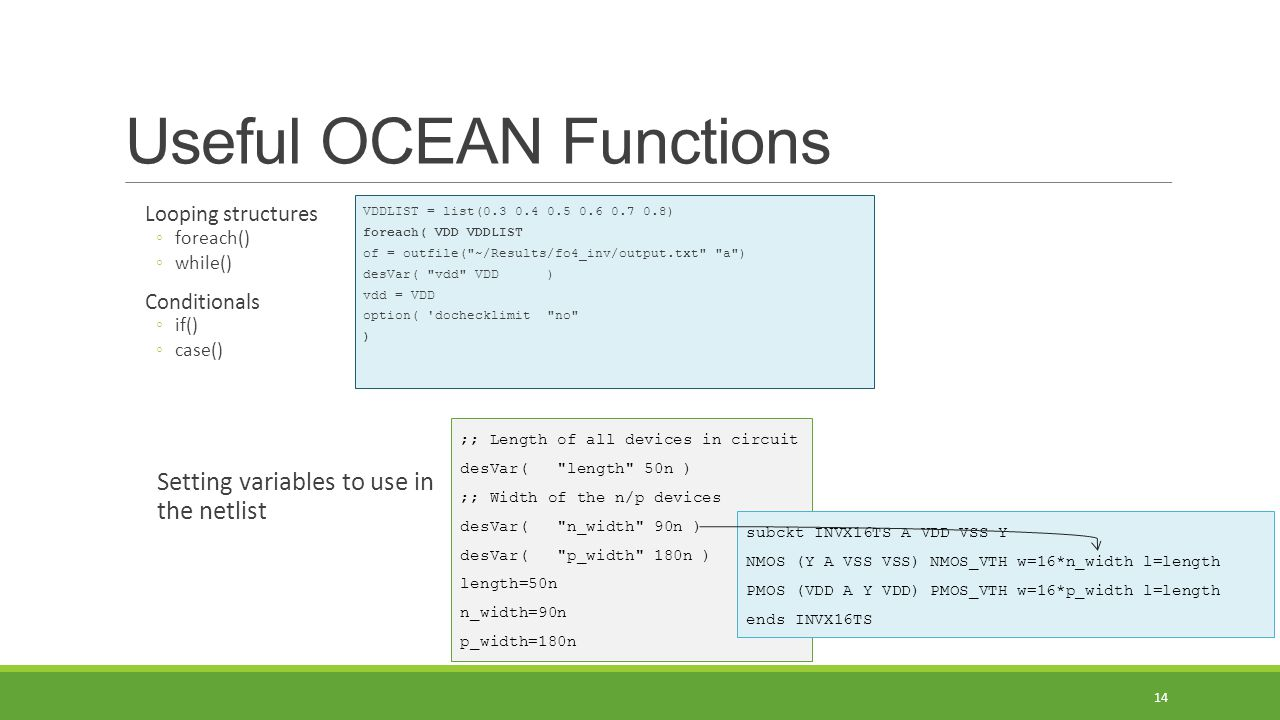 Useful OCEAN Functions