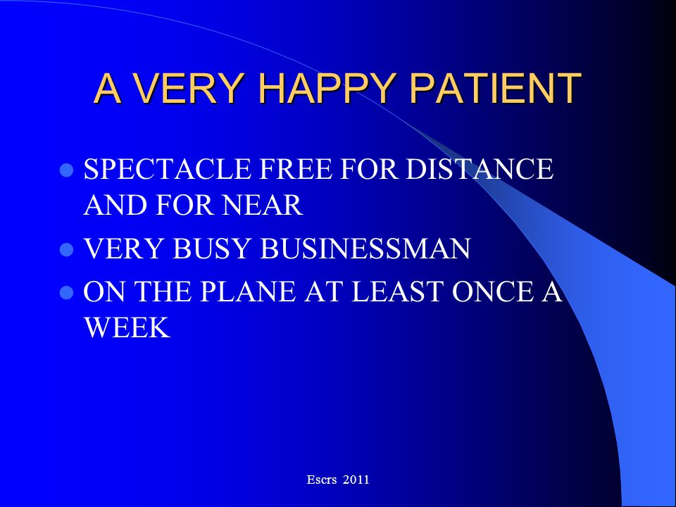 A VERY HAPPY PATIENT SPECTACLE FREE FOR DISTANCE AND FOR NEAR
