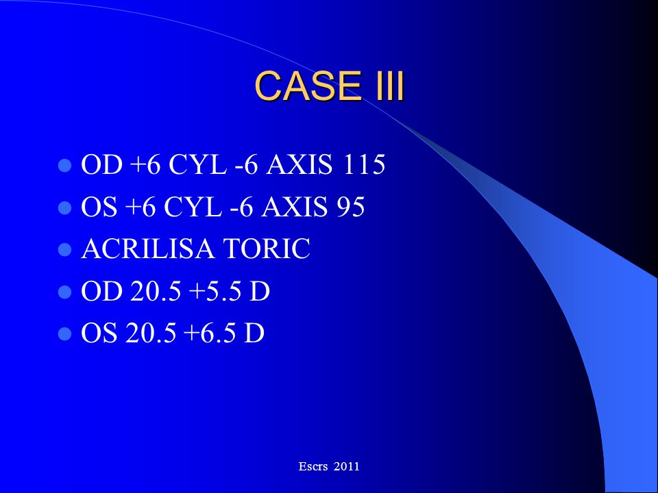 CASE III OD +6 CYL -6 AXIS 115 OS +6 CYL -6 AXIS 95 ACRILISA TORIC